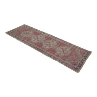 "1960's Vintage Turkish Hand-Knotted Runner-3'1"" X 9'3"" For Sale"