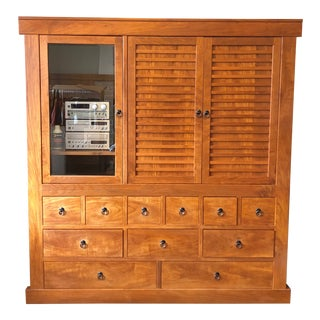 Solid Cherry Wood Japanese Tansu For Sale