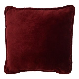 Vintage Ethan Allen Cranberry Velvet Accent Pillow For Sale