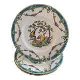 Image of Tiffany and Co. For Minton's Blue Porcelain Bird Plates - Set of 3 For Sale