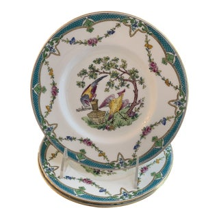 Tiffany and Co. For Minton's Blue Porcelain Bird Plates - Set of 3 For Sale