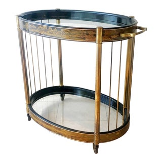 Mastercraft Acid Etched Brass Two Tiered Oval Trolley 1970s