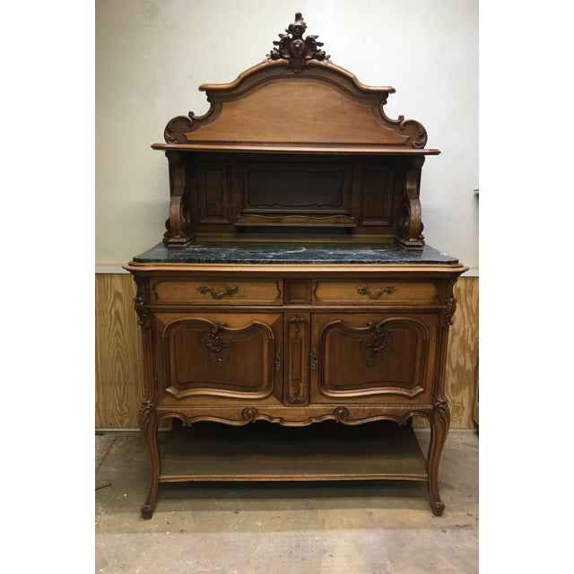 19th Century French Server Sideboard Hand Carved With Marble Top For Sale - Image 11 of 11
