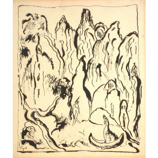 Jennings Tofel Abstract Expressionist Figures in Ink Wash on Board, Early to Mid 20th Century Early-Mid 20th Century For Sale