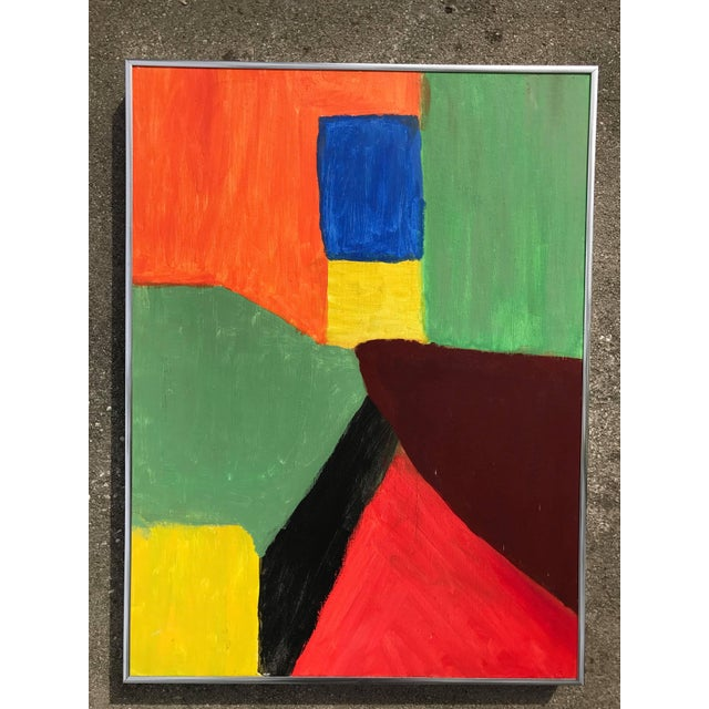 1980s Abstract Pink Green and Orange Painting - Image 2 of 4
