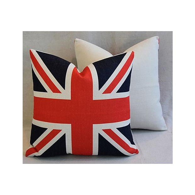 Custom Tailored Blue Velvet & Union Jack Flag Feather/Down Pillows - Set of 4 For Sale - Image 5 of 9