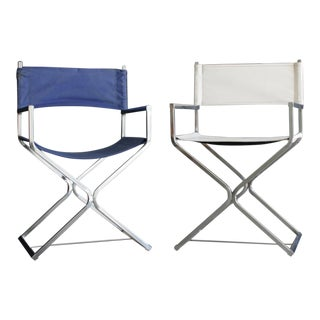 Director Style Chrome X-Base Chairs, a Pair