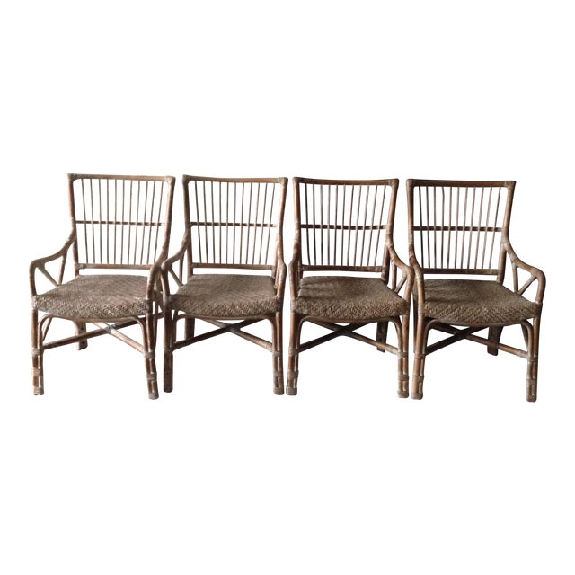 Rattan Dining Chairs - Set of 4 - Image 1 of 7