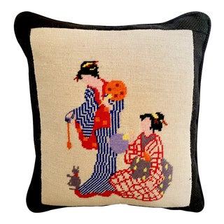 Vintage Needlepoint Geisha Pillow For Sale
