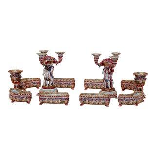 Exceptional Complete Capo di Monte Table Surround & Candlesticks For Sale