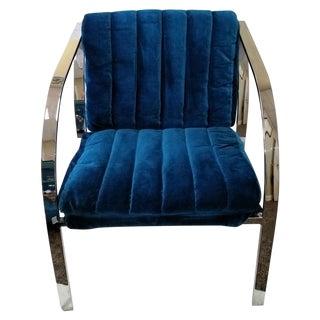 Vintage Milo Baughman Blue Velvet Sling Chair