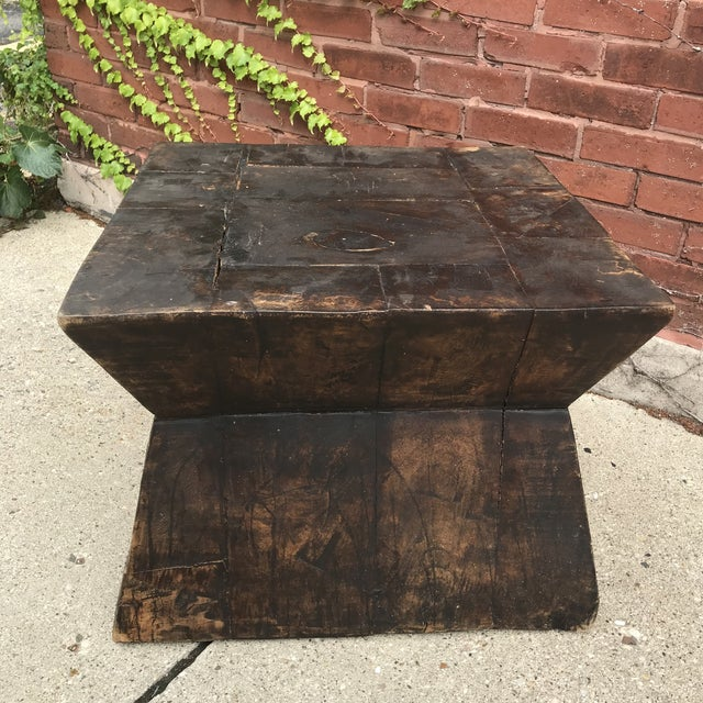 heavy as an anvil, solid wood antique piece... use as table base or as is...at least 80lbs, also could be use to display...