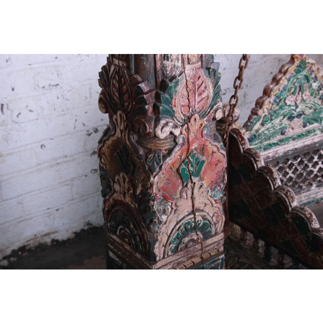 18th Century Ornate Carved Indian Jhula Bench Swing For Sale - Image 11 of 13