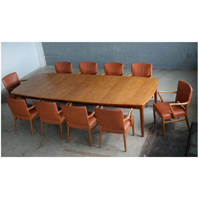 Large Midcentury Danish Sixteen Person Teak Dining or Conference Table For Sale In New York - Image 6 of 7