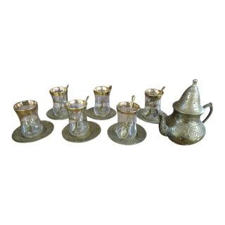 1940s Vintage Antique Moroccan Brass Tea Set - 14 Piece Set For Sale