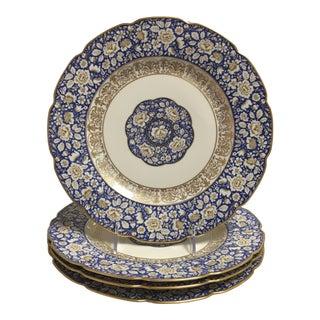 Blue Bavarian Gold Trim Scalloped Dinner Plate - Set of 4 For Sale