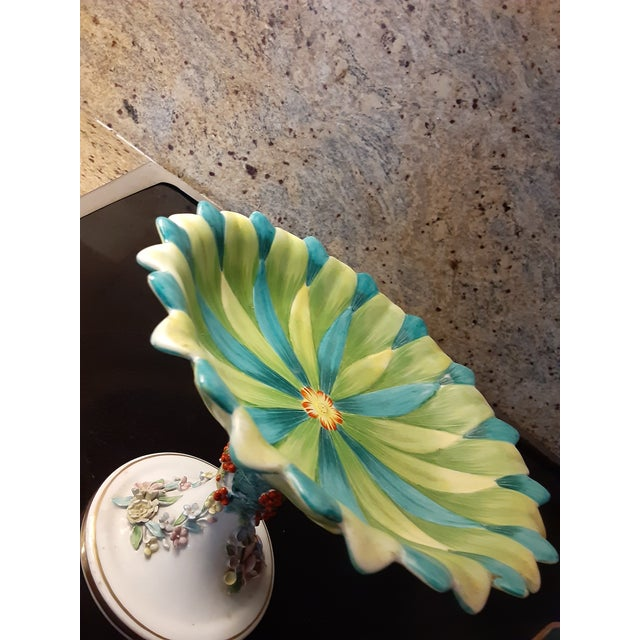 Boho Chic Vintage Italian Mottahedeh Green and Blue Epergne For Sale - Image 3 of 8