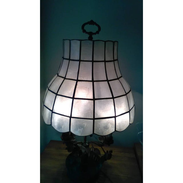 Antique Steel & Brass Roses Lamp - Image 7 of 9