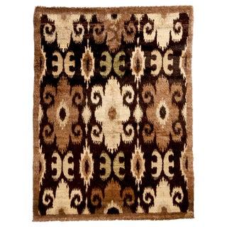 Afghan Beige and Black Goat Hair Rug - 5′6″ × 7′7″ For Sale