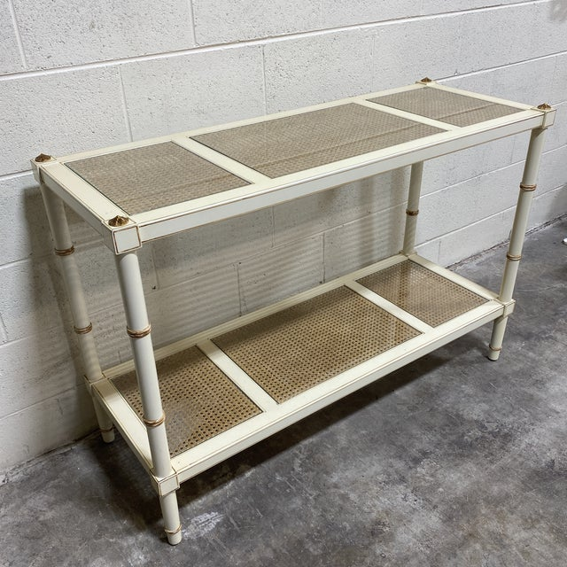 Campaign Vintage Off White and Gold Leaf Two Tier Console With Wicker Panels For Sale - Image 3 of 12