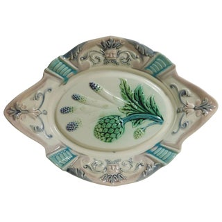 19th Century French Provincial Majolica Asparagus and Artichoke Platter For Sale