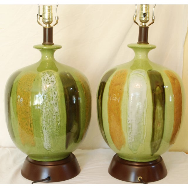 Mid-Century Modern Green Table Lamps - A Pair - Image 4 of 6