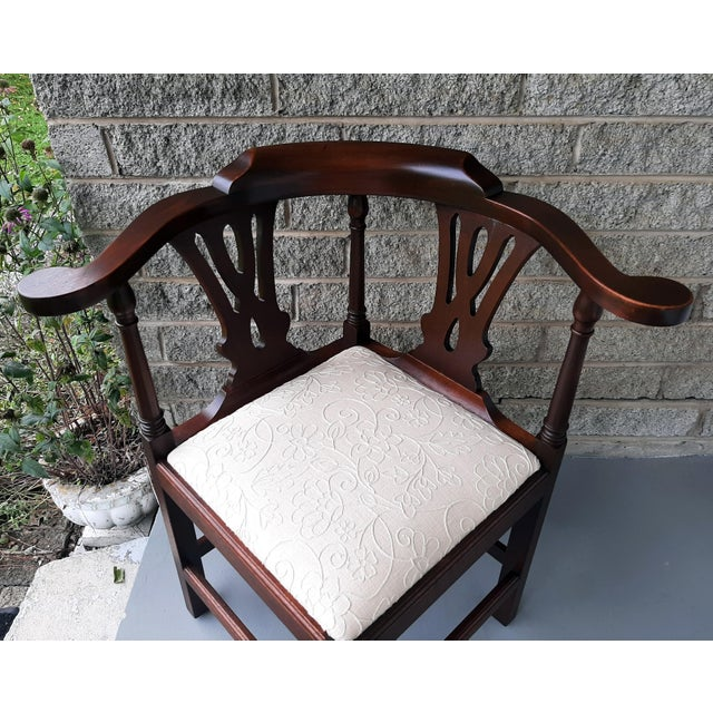The Bartley Collection Furniture Solid Mahogany Corner Chair Embroidered Linen Upholstered Seat For Sale - Image 9 of 13