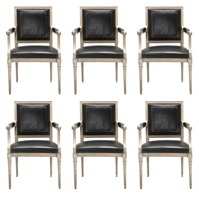 French Louis XVI Style Dining Chairs in Black Leather and Distressed White Paint - Set of 6 For Sale - Image 12 of 12