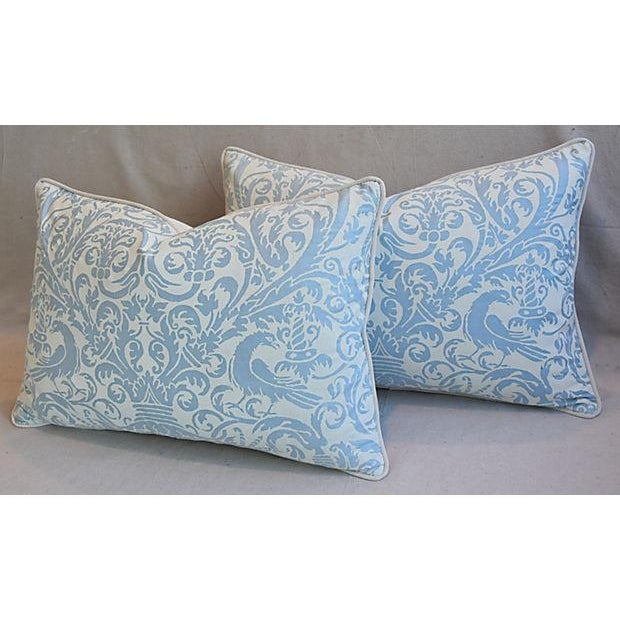 Custom Tailored Italian Fortuny Uccelli Feather/Down Pillows - A Pair For Sale In Los Angeles - Image 6 of 11