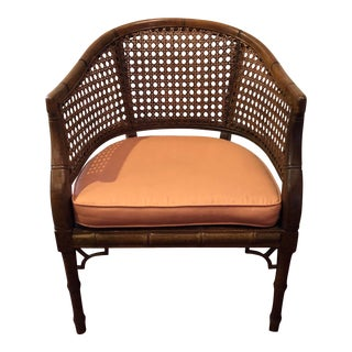 1970s Vintage Chinoiserie Cane & Bamboo Style Accent Chair For Sale