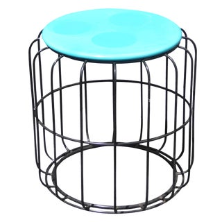 Vintage Turquoise Laminate Top Side Table