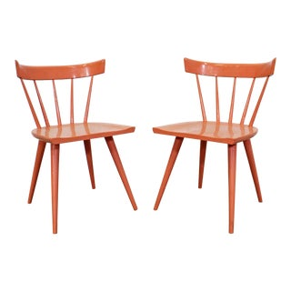 Pair of Mid-Century Danish Modern Paul McCobb Spindle Back Side Dining Chairs For Sale