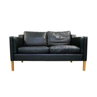 Stouby Black Leather Settee in the Style of Børge Mogensen For Sale