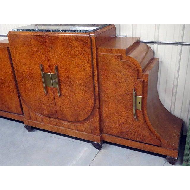 Camard Art Deco burled walnut marble-top sideboard.