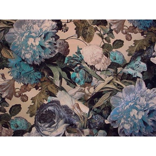 Mulberry Floral Pompadour Printed Velvet Sage Upholstery Fabric - 2 1/4 Yards For Sale