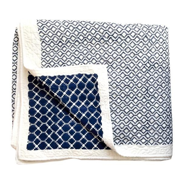 Contemporary King Jali Navy Blue Cotton Quilt For Sale - Image 4 of 4