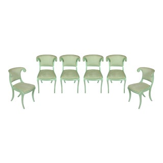 Aqua Lacquered Klismos Dining Chairs - Set of 6 For Sale