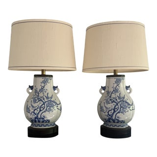Mid-Century Frederick Cooper Chinoiserie Blue & White Porcelain Lamps - a Pair For Sale