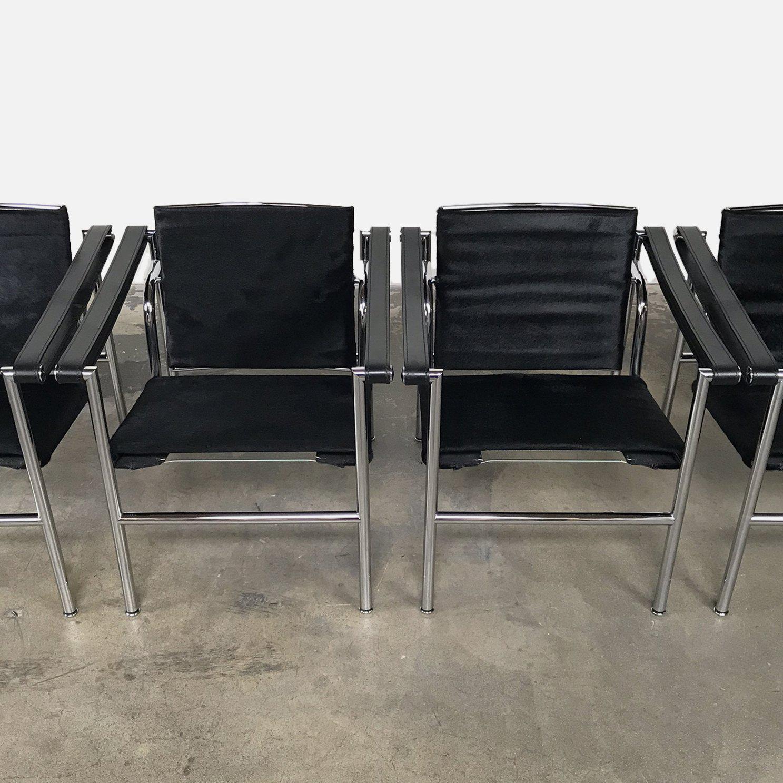 2000s Cassina Le Corbusier, Pierre Jeanneret U0026 Charlotte Perriand U0027Lc1u0027  Black Cowhide Armchair