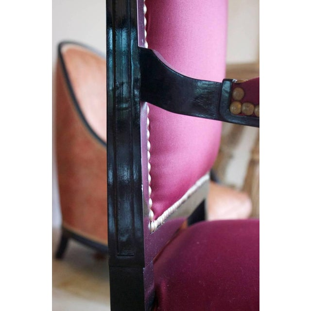 1930s Vintage Jansen Louis XVI Style Black Lacquered Armchair For Sale In Charleston - Image 6 of 7