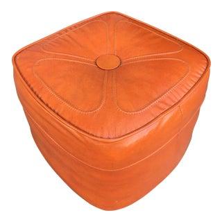 1970s Vintage Orange Ottoman For Sale
