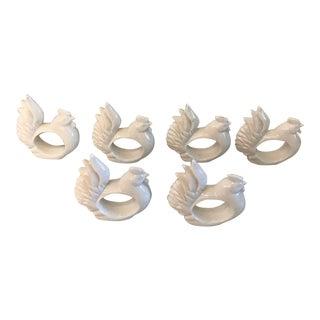 Vintage Ceramic Rooster Napkin Rings - Set of 6 For Sale