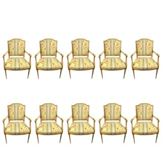 Louis XVI Style Arm Chairs in the Maison Jansen Manner - Set of 10