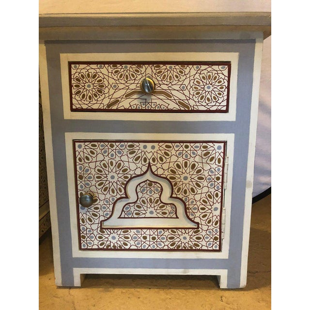 White Moorish Style White Blue-Gray and Burgundy Night Stands - a Pair For Sale - Image 8 of 12