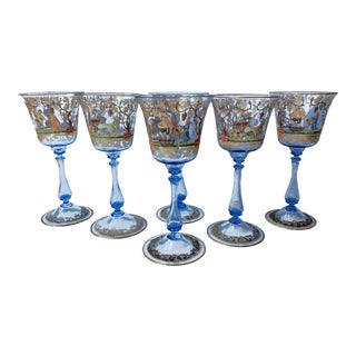 Antique Murano Salviati Venetian Goblets Bubble Stem Hand Blown Painted 3 Vineyard Scenes Set of 6