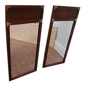 Lane Walnut & Oak Pair of Campaign Style Wall Mirrors For Sale