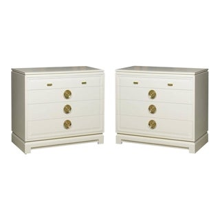 Fabulous Pair of John Stuart Chests in Cream Lacquer For Sale