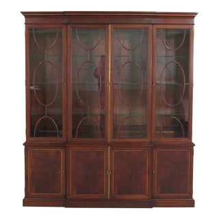 1990s Traditional Hickory Chair Co. 4 Door Mahogany Breakfront Bookcase For Sale