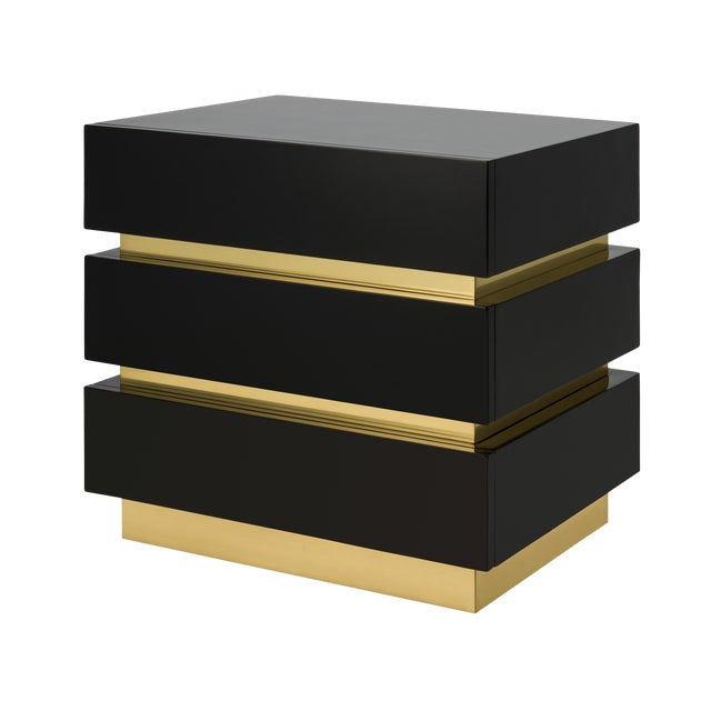 Not Yet Made - Made To Order Banded Nightstand in Black / Brass - Flair Home for The Lacquer Company For Sale - Image 5 of 5