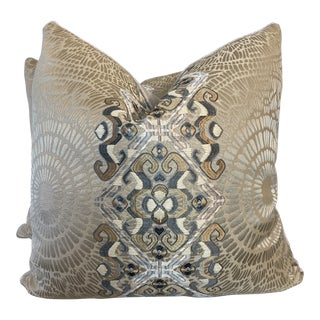 "Beacon Hill ""Ammolite Silver Gold"" 22"" Pillows -A Pair For Sale"